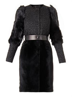 Multi-texture mohair-blend coat