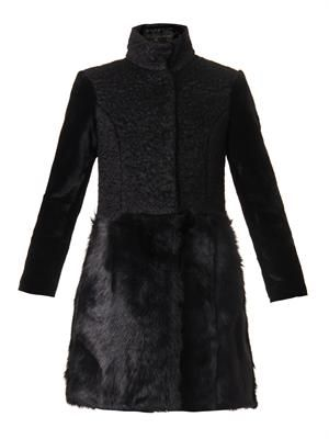 Multi-textured mohair-blend coat