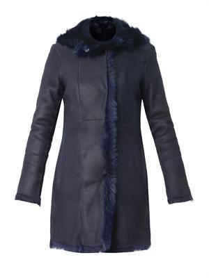 Hooded navy shearling coat