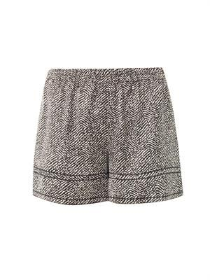 Chevron-print silk-satin shorts