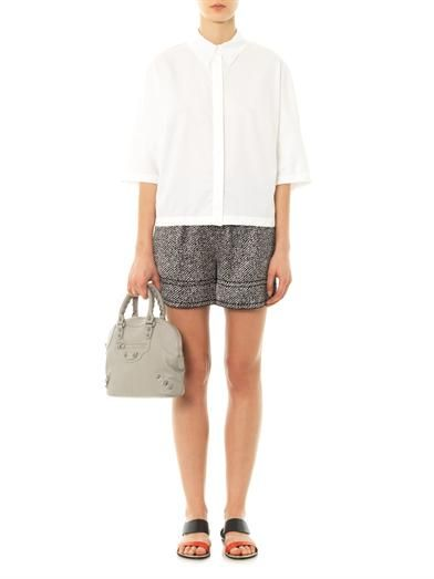 Derek Lam Chevron-print silk-satin shorts