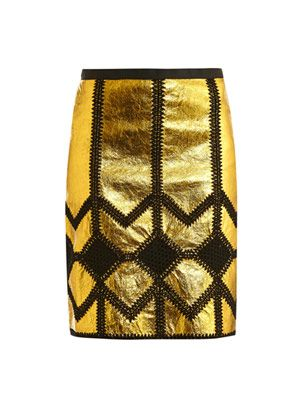 Metallic leather and crochet pencil skirt