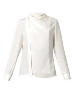 Wrapped-collar silk blouse