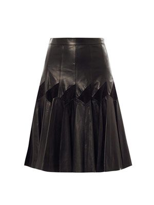Leather & suede pleat skirt