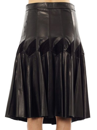 Derek Lam Leather & suede pleat skirt