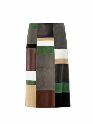 Leather and suede patchwork skirt