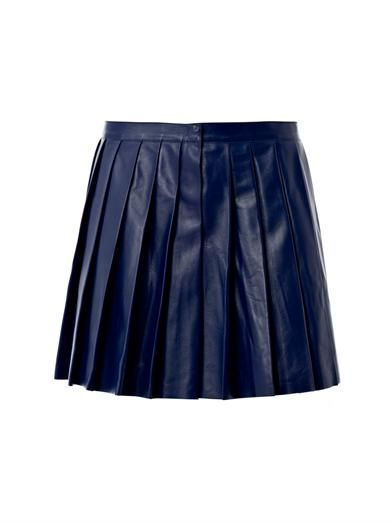 Derek Lam Pleated leather mini skirt