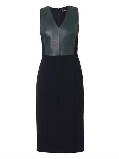 Derek Lam Leather and stretch-crepe dress