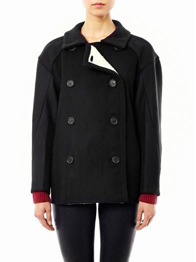 Derek Lam Fleece lined wool pea coat