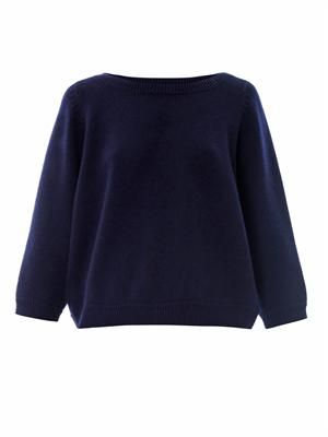 Cashmere cropped boat-neck sweater