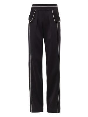 Contrast piping tailored trousers