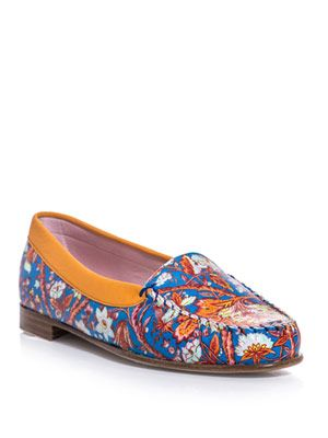 Floral-print leather loafers
