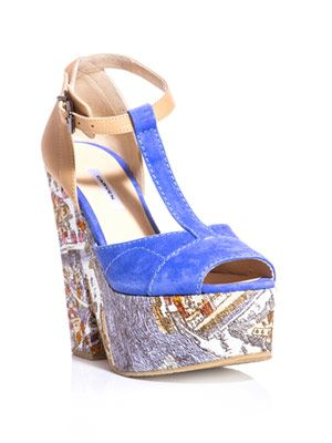 Paris-print T-bar wedges