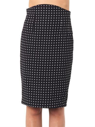 Emilio De La Morena Eye-print silk pencil skirt