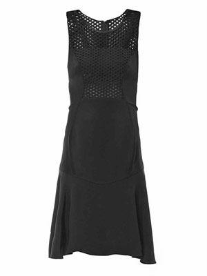 Mesh-panel silk dress