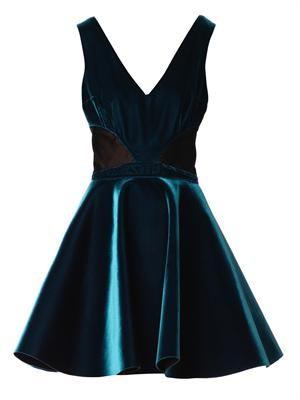 V-neck velvet skater dress
