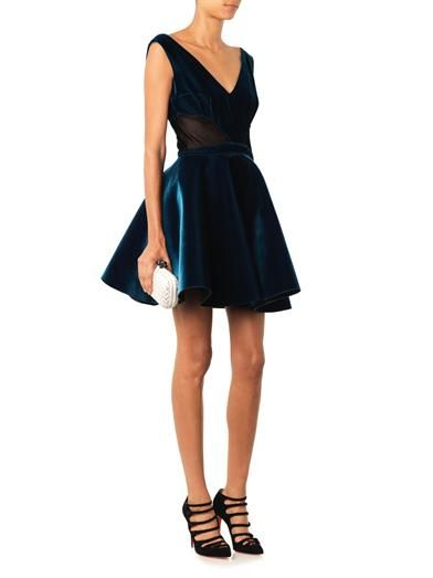 Emilio De La Morena V-neck velvet skater dress