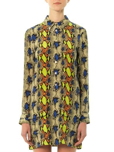 Equipment Python-print silk shirt dress