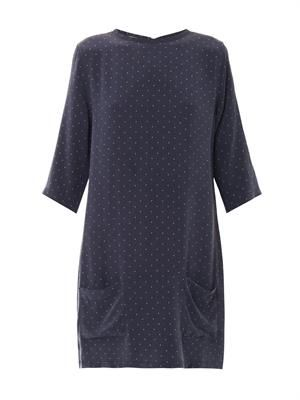 Aubrey polka-dot print silk dress