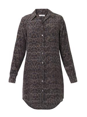 Brett leopard-print silk shirt-dress