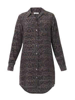 Brett leopard-print silk shirt-dress