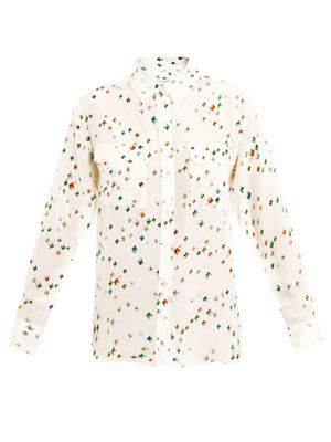 Diamond-print signature silk shirt