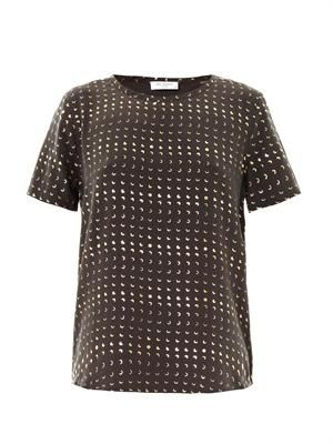 Riley moon-print silk T-shirt