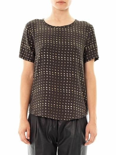 Equipment Riley moon-print silk T-shirt
