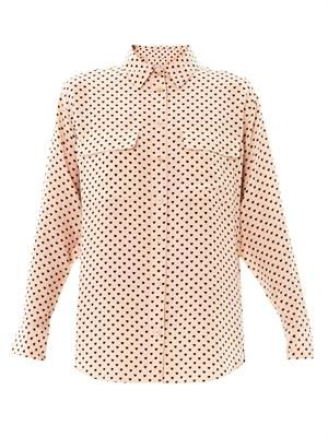 Heart-print signature silk shirt