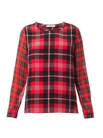 Equipment Liam check-print silk blouse