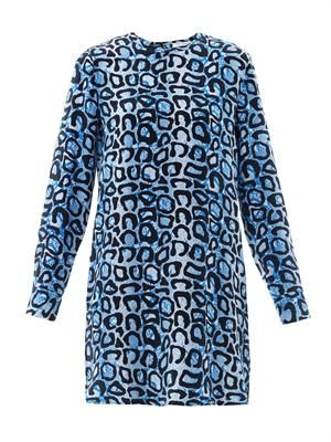 Owen snake and leopard-print shift dress