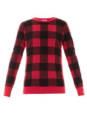 Large check wool sweater
