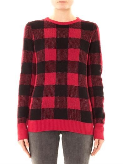 Equipment Large check wool sweater