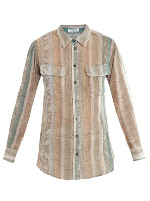 Signature snake-print silk shirt