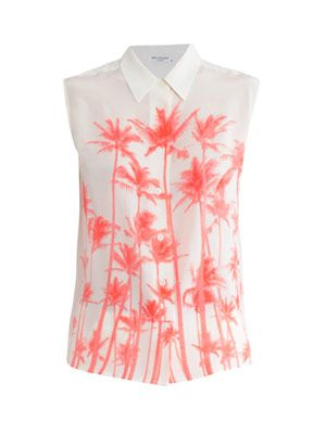 Sleeveless palm-tree print blouse