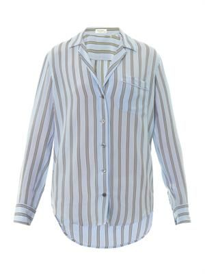 Kiera pyjama-stripe silk shirt