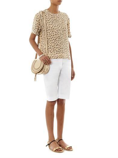 Equipment Logan cheetah-print silk blouse
