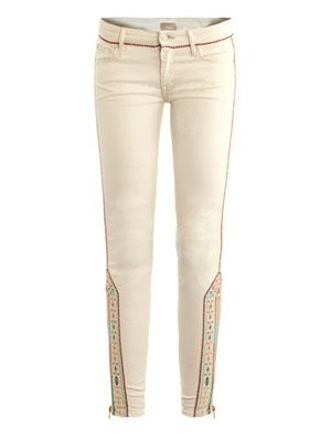 The Looker embroidered mid-rise skinny jeans
