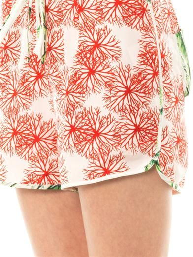Easton Pearson Take Away Silk paradise print shorts