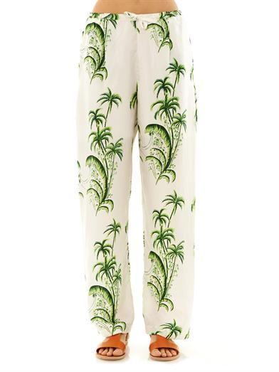 Easton Pearson Take Away Palm tree silk trousers