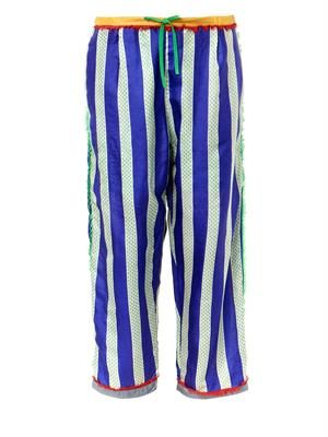 Striped silk drawstring trousers