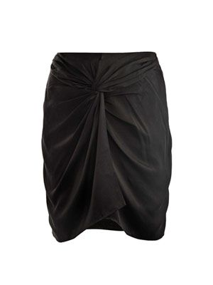 Femi knot front hammered silk skirt