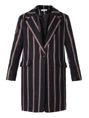 Iris schoolboy-stripe boyfriend coat