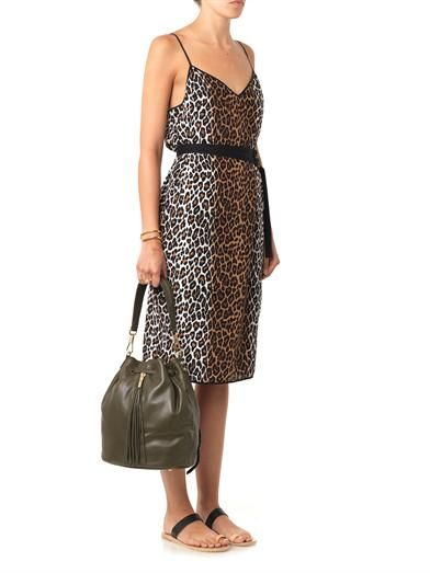 Elizabeth and James Alix leopard-print slip dress