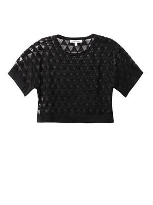 Gilroy embroidered-mesh cropped top