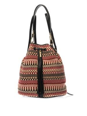 Cynnie Sling woven tassel backpack