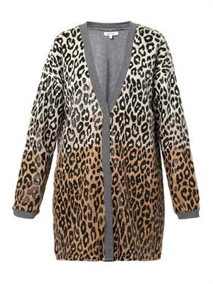 Leopard-print cotton-blend cardigan
