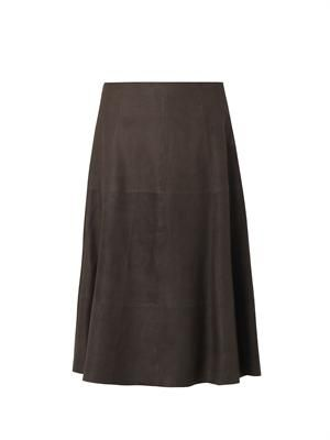 Salem leather A-line skirt