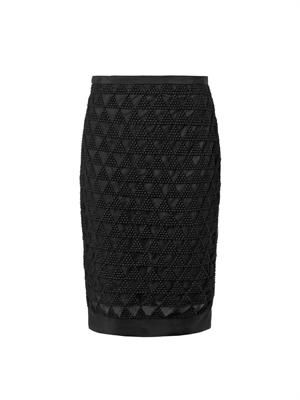 Cooper embroidered mesh pencil skirt