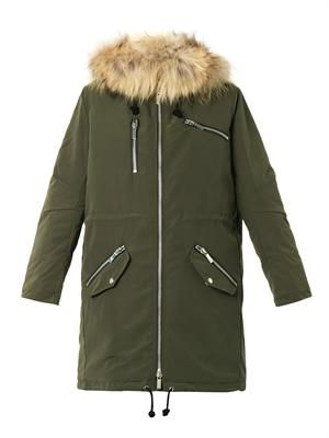 Emery fur-trimmed parka coat